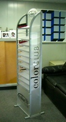 gravity feed nail polish display metal acrylic signage shelve makeup